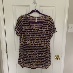 LuLaRoe Striped Classic Tee with Floral Pattern